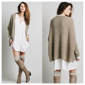 FREE PEOPLE Breeze Waffling Around Oversize Cardi